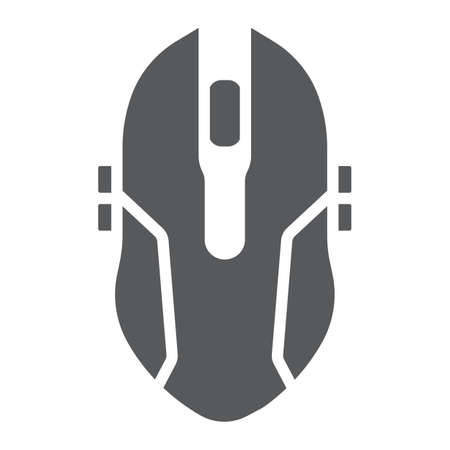Gaming mouse glyph icon, game and device, computer mouse sign, vector graphics, a solid pattern on a white background. Stock Illustratie