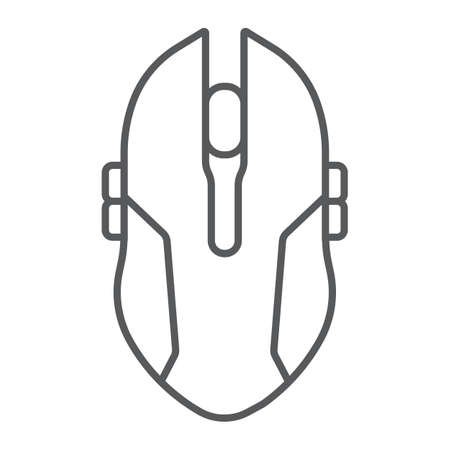 Gaming mouse thin line icon, game and device, computer mouse sign, vector graphics, a linear pattern on a white background.