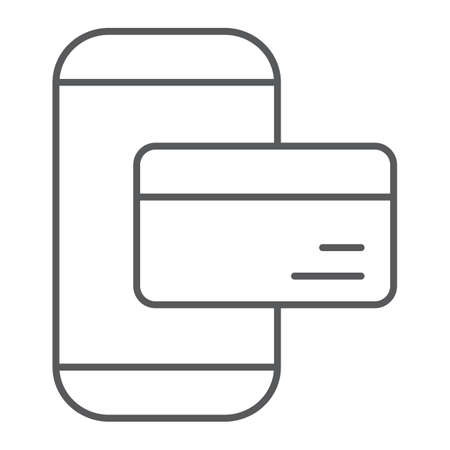 Phone payment thin line icon, technology and money, mobile payment sign, vector graphics, a linear pattern on a white background.