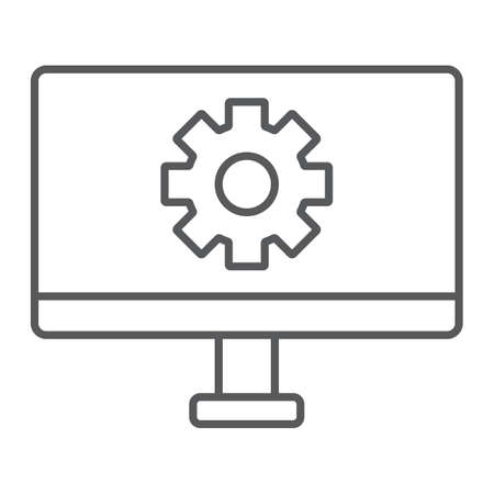 Computer settings thin line icon, technology and equipment, monitor with gear sign, vector graphics, a linear pattern on a white background.