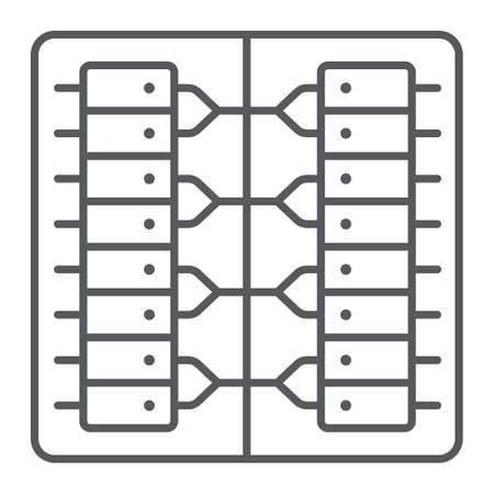 Server thin line icon, technology and system, data center sign, vector graphics, a linear pattern on a white background.