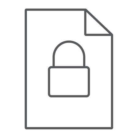 Locked file thin line icon, document and computer, file with padlock sign, vector graphics, a linear pattern on a white background, eps 10.