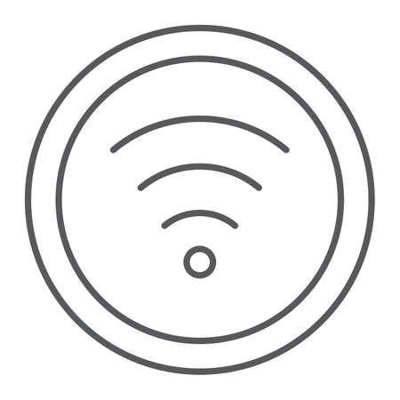 Wifi thin line icon, internet and network, wireless internet sign, vector graphics, a linear pattern on a white background.