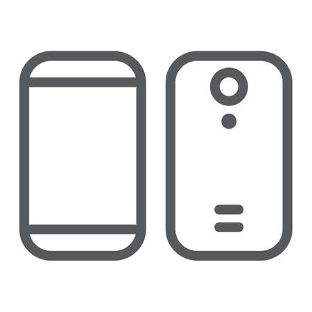 Smartphone line icon, device and phone, mobile phone sign, vector graphics, a linear pattern on a white background. Ilustração