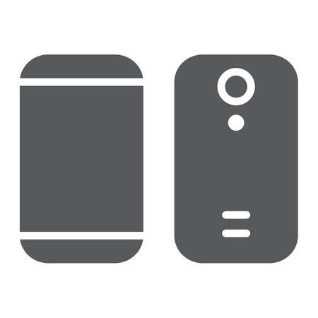 Smartphone glyph icon, device and phone, mobile phone sign, vector graphics, a solid pattern on a white background.