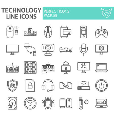 Technology line icon set, devices symbols collection, vector sketches, logo illustrations, gardening signs linear pictograms package isolated on white background.
