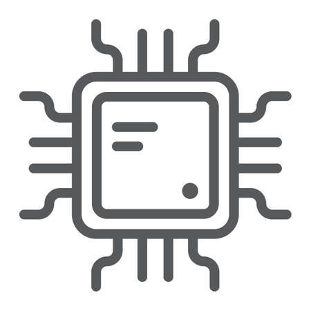 Cpu line icon, technology and device, chip sign, vector graphics, a linear pattern on a white background. Illustration