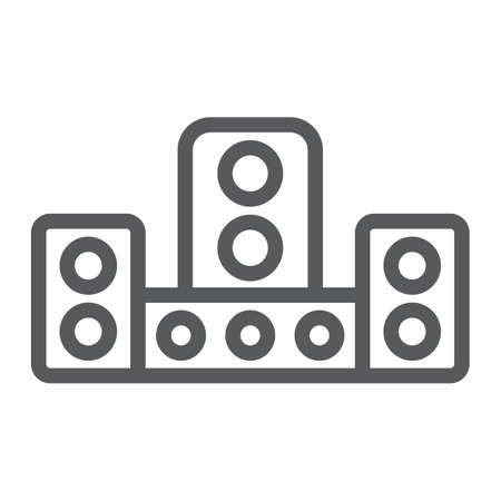 Audio system line icon, technology and device, sound system sign, vector graphics, a linear pattern on a white background.