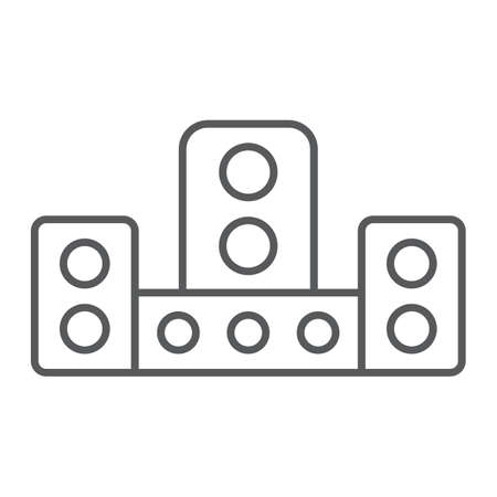 Audio system thin line icon, technology and device, sound system sign, vector graphics, a linear pattern on a white background.  イラスト・ベクター素材