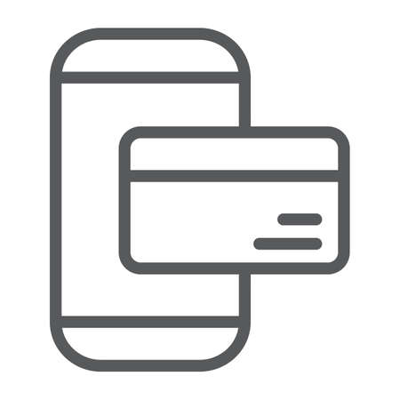 Phone payment line icon, technology and money, mobile payment sign, vector graphics, a linear pattern on a white background.