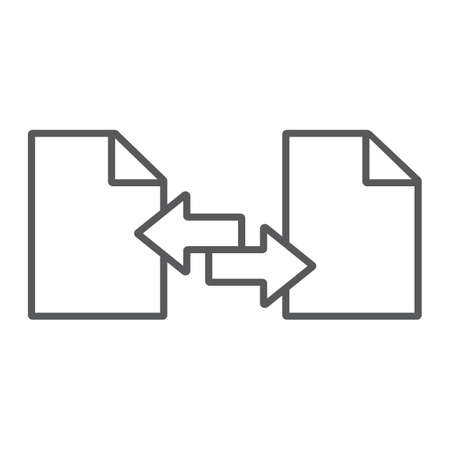 File sharing thin line icon, document and computer, file sending sign, vector graphics, a linear pattern on a white background.