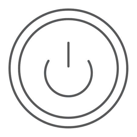 Computer power button thin line icon, switch and computer, on off sign, vector graphics, a linear pattern on a white background.