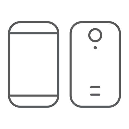Smartphone thin line icon, device and phone, mobile phone sign, vector graphics, a linear pattern on a white background.