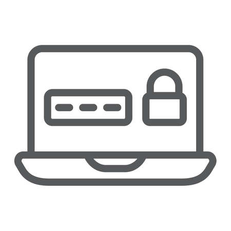 Password on laptop line icon, device and safety, notebook secure sign, vector graphics, a linear pattern on a white background.  イラスト・ベクター素材
