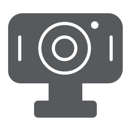 Webcam glyph icon, cam and device, computer camera sign, vector graphics, a solid pattern on a white background.