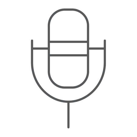 Computer microphone thin line icon, sound and device, audio mic sign, vector graphics, a linear pattern on a white background.