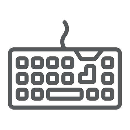 Keyboard line icon, technology and device, keypad sign, vector graphics, a linear pattern on a white background.