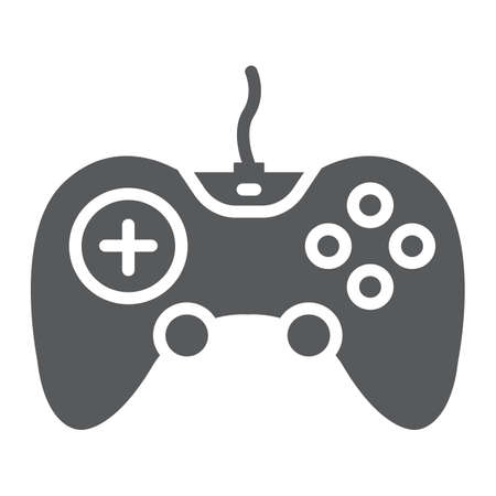 Gamepad glyph icon, technology and entertainment, joystick sign, vector graphics, a solid pattern on a white background.