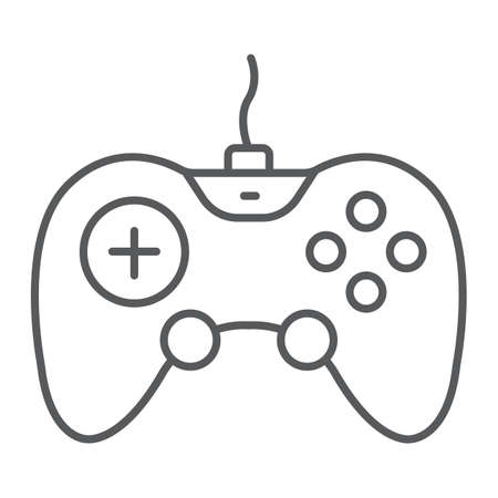 Gamepad thin line icon, technology and entertainment, joystick sign, vector graphics, a linear pattern on a white background. Stock Illustratie