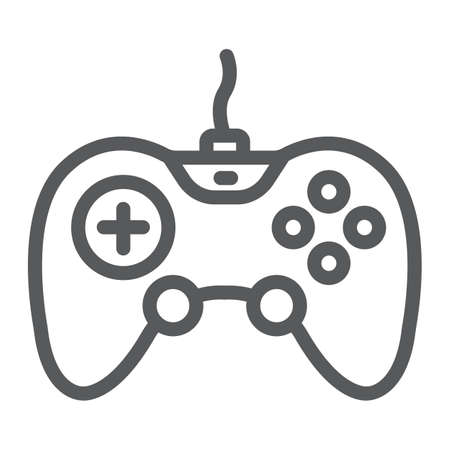Gamepad line icon, technology and entertainment, joystick sign, vector graphics, a linear pattern on a white background.