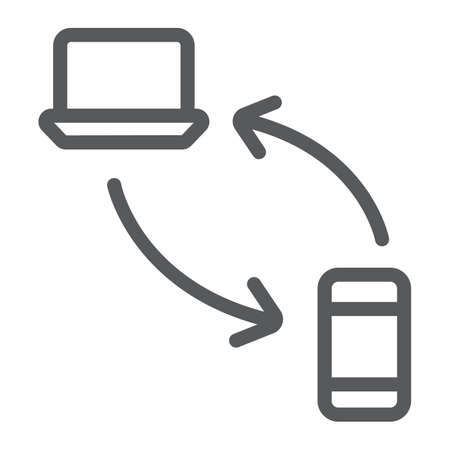 Data transferring from laptop to smartphone line icon, technology and transfer, synchronization sign, vector graphics, a linear pattern on a white background.