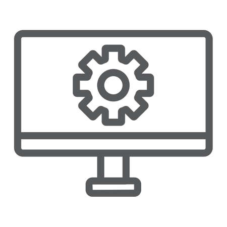 Computer settings line icon, technology and equipment, monitor with gear sign, vector graphics, a linear pattern on a white background.