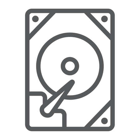 Hdd line icon, technology and device, hard drive disk sign, vector graphics, a linear pattern on a white background. Ilustrace