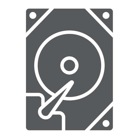 Hdd glyph icon, technology and device, hard drive disk sign, vector graphics, a solid pattern on a white background.