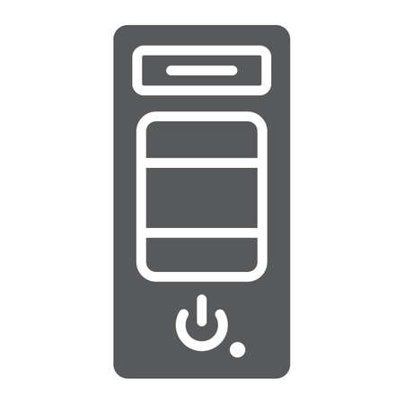 System unit glyph icon, hardware and device, case for the computer sign, vector graphics, a solid pattern on a white background.