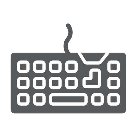 Keyboard glyph icon, technology and device, keypad sign, vector graphics, a solid pattern on a white background.