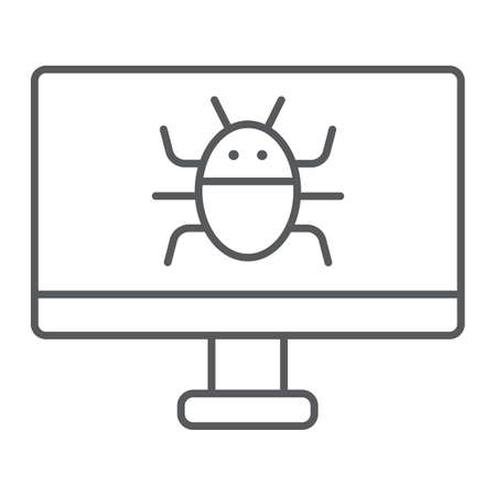 Computer virus thin line icon, technology and device, software bug sign, vector graphics, a linear pattern on a white background.  イラスト・ベクター素材