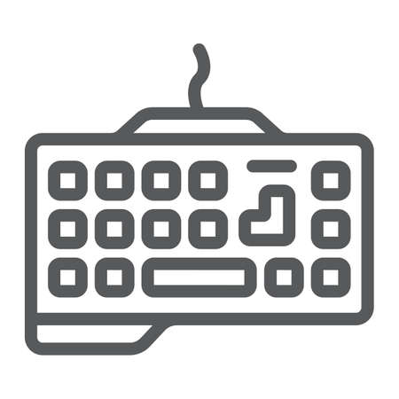 Gaming keyboard line icon, technology and device, keypad sign, vector graphics, a linear pattern on a white background.