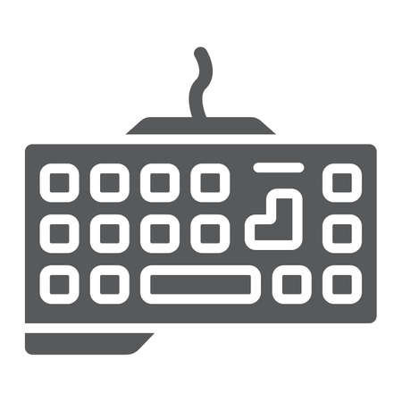 Gaming keyboard glyph icon, technology and device, keypad sign, vector graphics, a solid pattern on a white background. Stock Illustratie