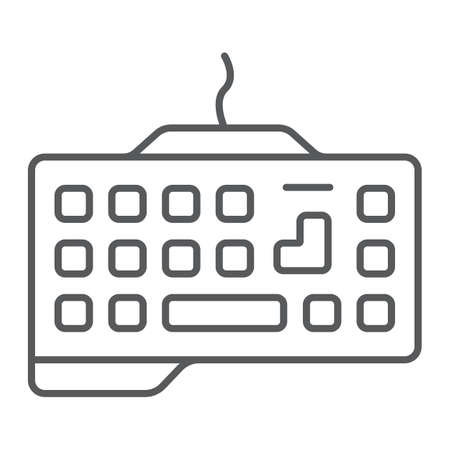 Gaming keyboard thin line icon, technology and device, keypad sign, vector graphics, a linear pattern on a white background.