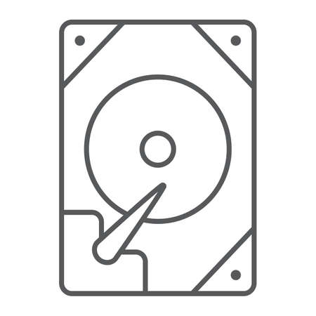 Hdd thin line icon, technology and device, hard drive disk sign, vector graphics, a linear pattern on a white background.