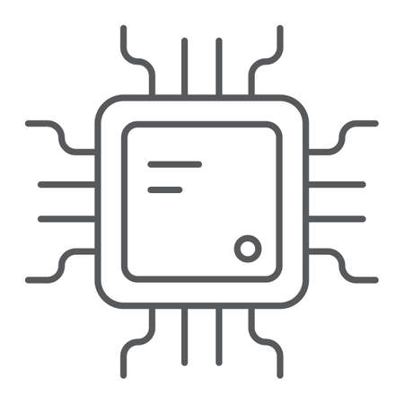 Cpu thin line icon, technology and device, chip sign, vector graphics, a linear pattern on a white background.