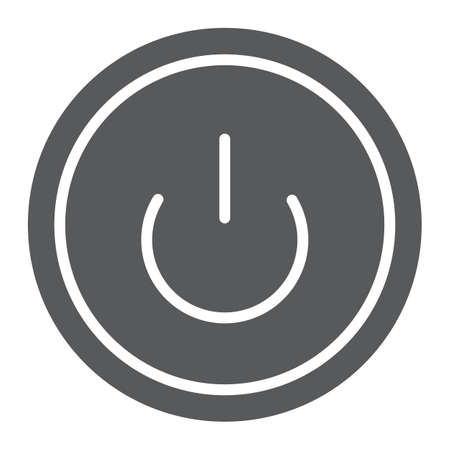 Computer power button glyph icon, switch and computer, on off sign, vector graphics, a solid pattern on a white background.