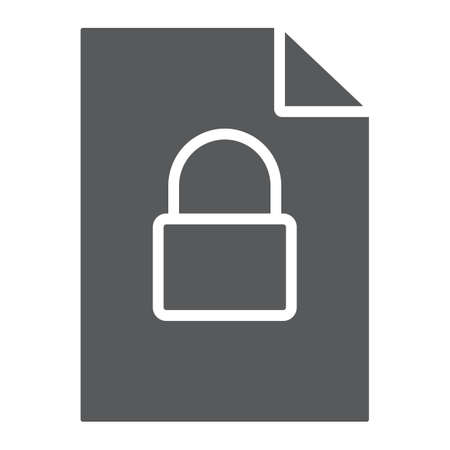 Locked file glyph icon, document and computer, file with padlock sign, vector graphics, a solid pattern on a white background.
