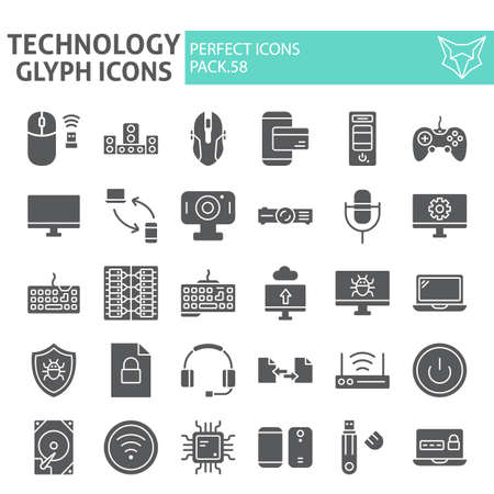 Technology glyph icon set, devices symbols collection, vector sketches, illustrations, gardening signs solid pictograms package isolated on white background.