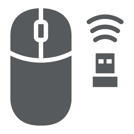 Wireless mouse glyph icon, cursor and device, computer mouse sign, vector graphics, a solid pattern on a white background.