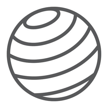 Gymnastic ball line icon, sport and equipment, fitness ball sign, vector graphics, a linear pattern on a white background.