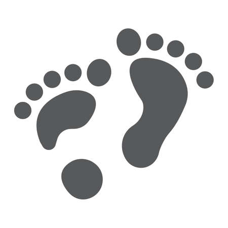 Flat foot glyph icon, orthopedic and medical, barefoot sign, vector graphics, a solid pattern on a white background.