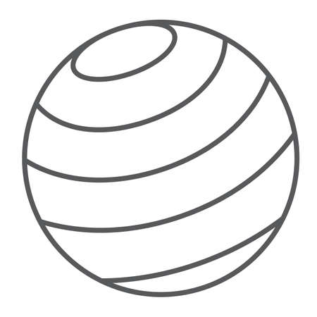 Gymnastic ball thin line icon, sport and equipment, fitness ball sign, vector graphics, a linear pattern on a white background.  イラスト・ベクター素材