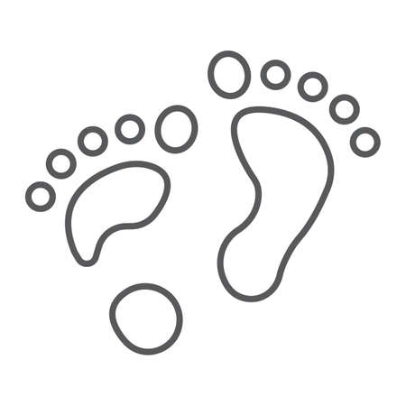 Flat foot thin line icon, orthopedic and medical, barefoot sign, vector graphics, a linear pattern on a white background.  イラスト・ベクター素材