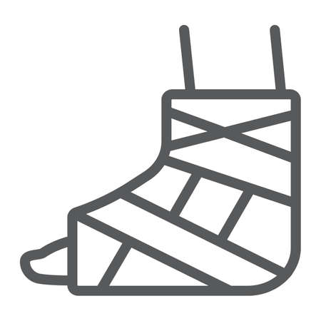 Foot brace line icon, orthopedic and medical, ankle bandage sign, vector graphics, a linear pattern on a white background.