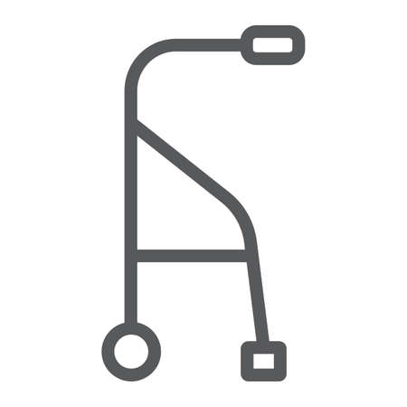 Walkers line icon, medical and equipment, walking sticks for seniors sign, vector graphics, a linear pattern on a white background. Ilustração