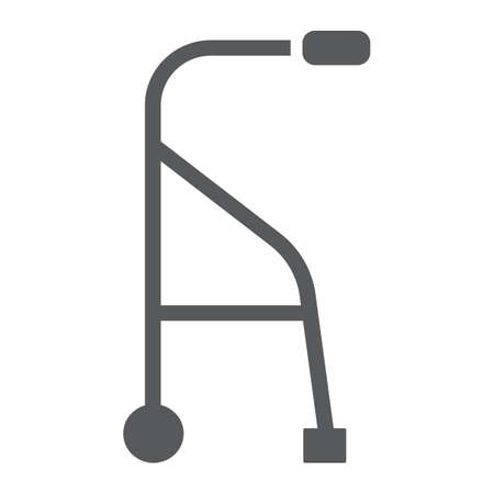 Walkers glyph icon, medical and equipment, walking sticks for seniors sign, vector graphics, a solid pattern on a white background.