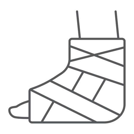 Foot brace thin line icon, orthopedic and medical, ankle bandage sign, vector graphics, a linear pattern on a white background.