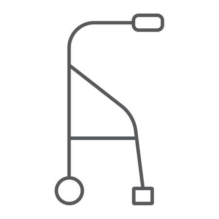 Walkers thin line icon, medical and equipment, walking sticks for seniors sign, vector graphics, a linear pattern on a white background.