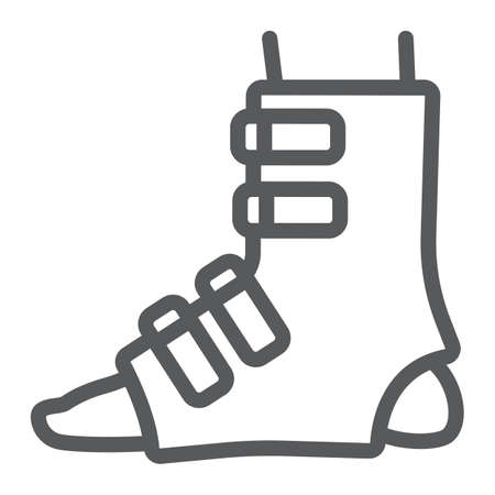 Foot splint line icon, orthopedic and medical, leg bandage sign, vector graphics, a linear pattern on a white background.